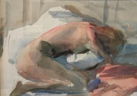 Marc Whitney Curled Nude watercolor