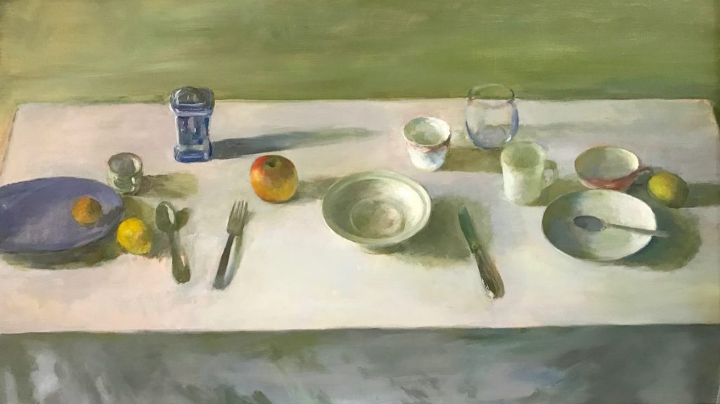 Marc Whitney Table Setting with Blue Plate 35 x 55 in, oil