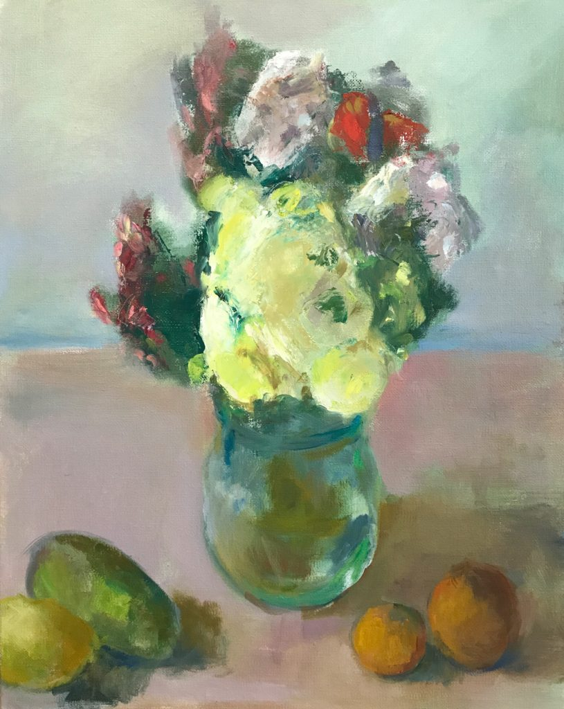 """Floral with fruit 20"""" x 16"""" oil"""