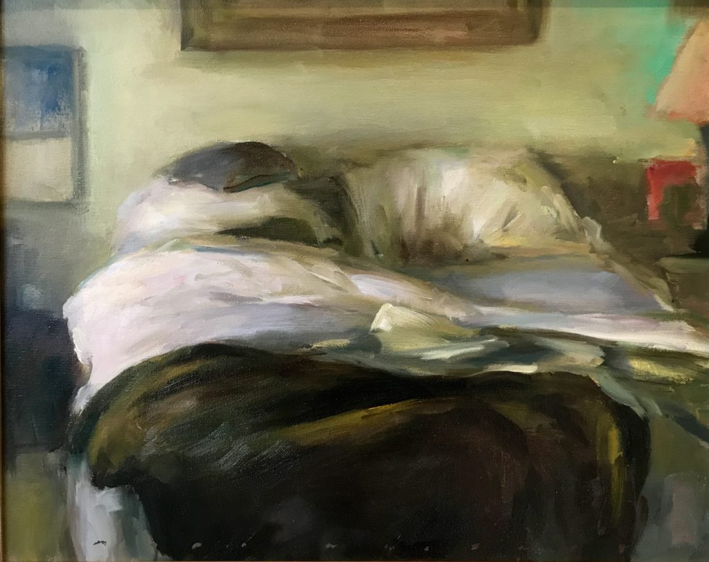 """Unmade Bed with a mood 16"""" x 20"""" Oil"""