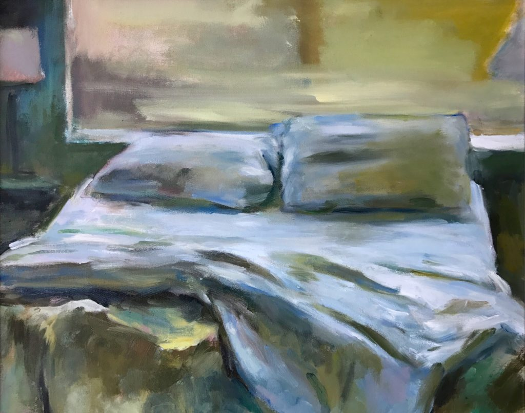 """Unmade Bed with window 16"""" x 20"""" Oil"""