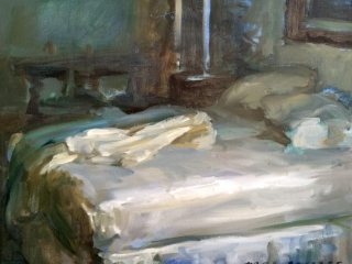 Marc Whitney Blue Bedroom with Unmade Bed