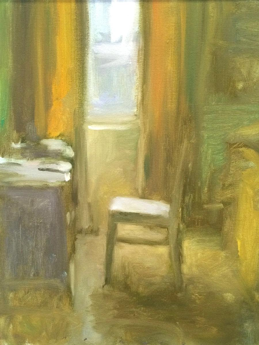 Marc Whitney original oil painting One Chair