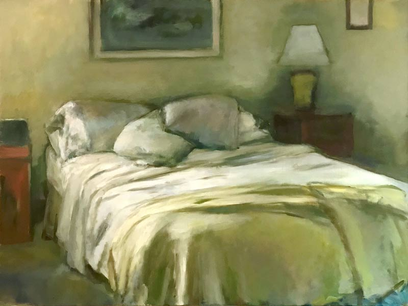 Marc Whitney Unmade Bed White Pillow oil painting