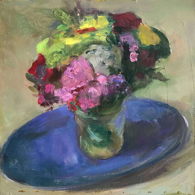 Marc Whitney original oil painting Floral on Blue Plate