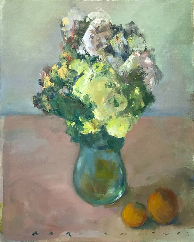 Marc Whitney fine art oil painting Floral with Fruit