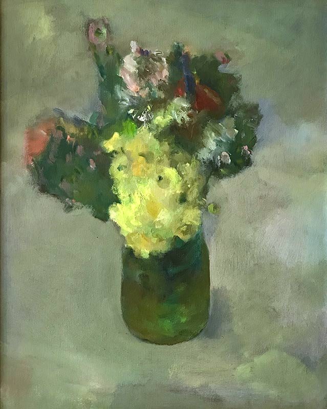 Marc Whitney oil painting Floral with Yellow