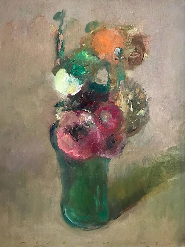 Marc Whitney original oil painting Pink Ranuculus