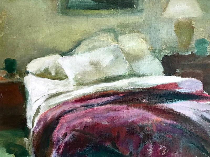 Unmade Bed Burgundy Blanket