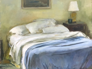 Unmade Bed White Sheets Blue Blanket