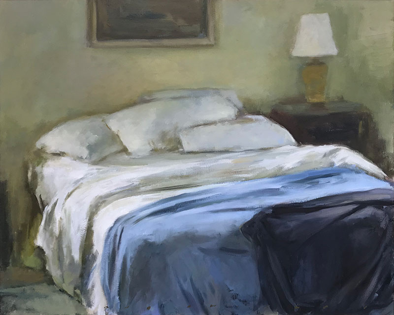 Unmade Bed White Sheets with Blue Blankets