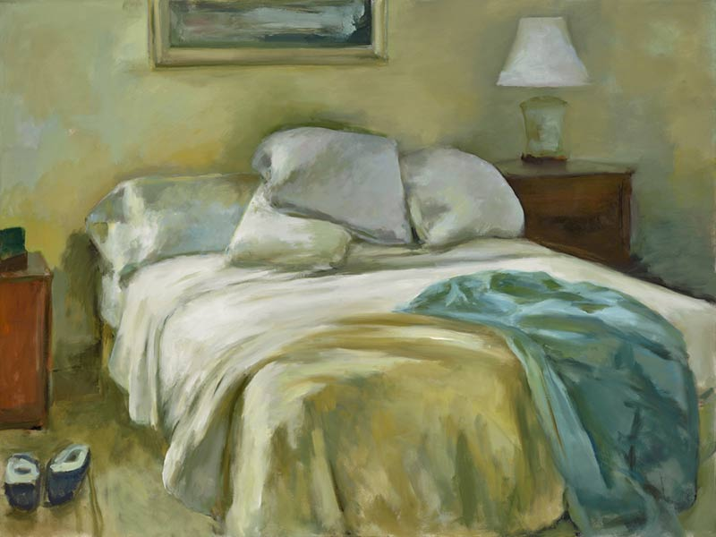 Marc Whitney fine art print Unmade Bed with Aqua Blanket