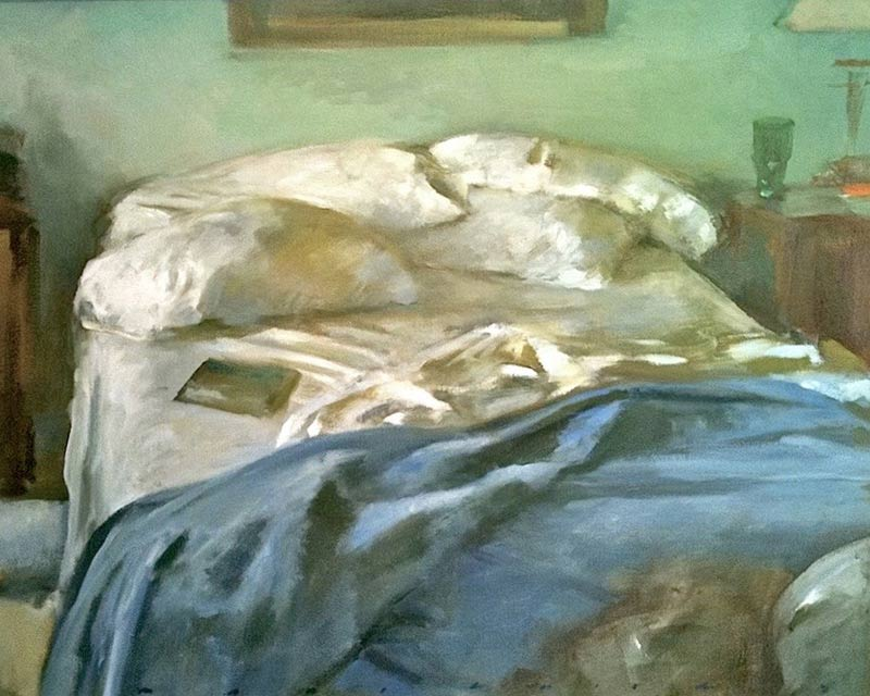 Marc Whitney fine art print Unmade Bed with Blue Throw